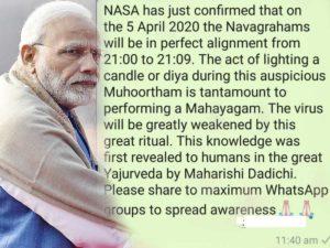 Fake Messages On PM Modi's 9 Minutes Light Up Vigil
