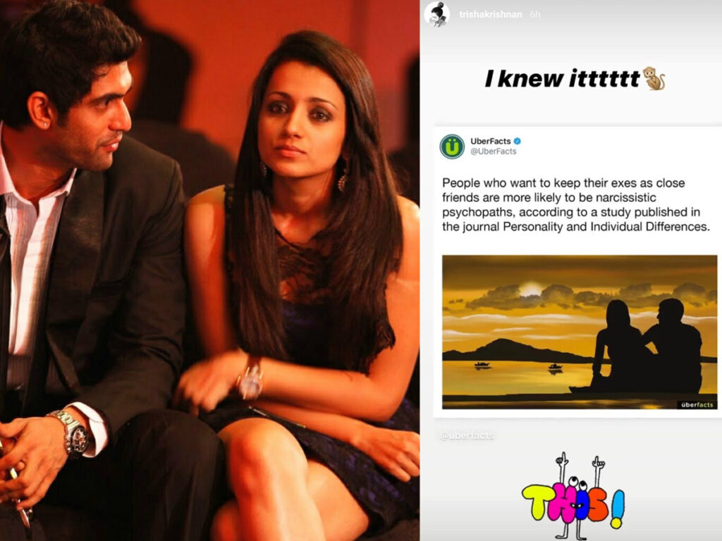 Trisha's Deleted Post On 'Ex', About Rana?