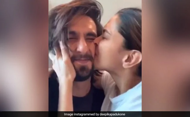 Deepika kisses 'cutie' Ranveer's 'squishable face'