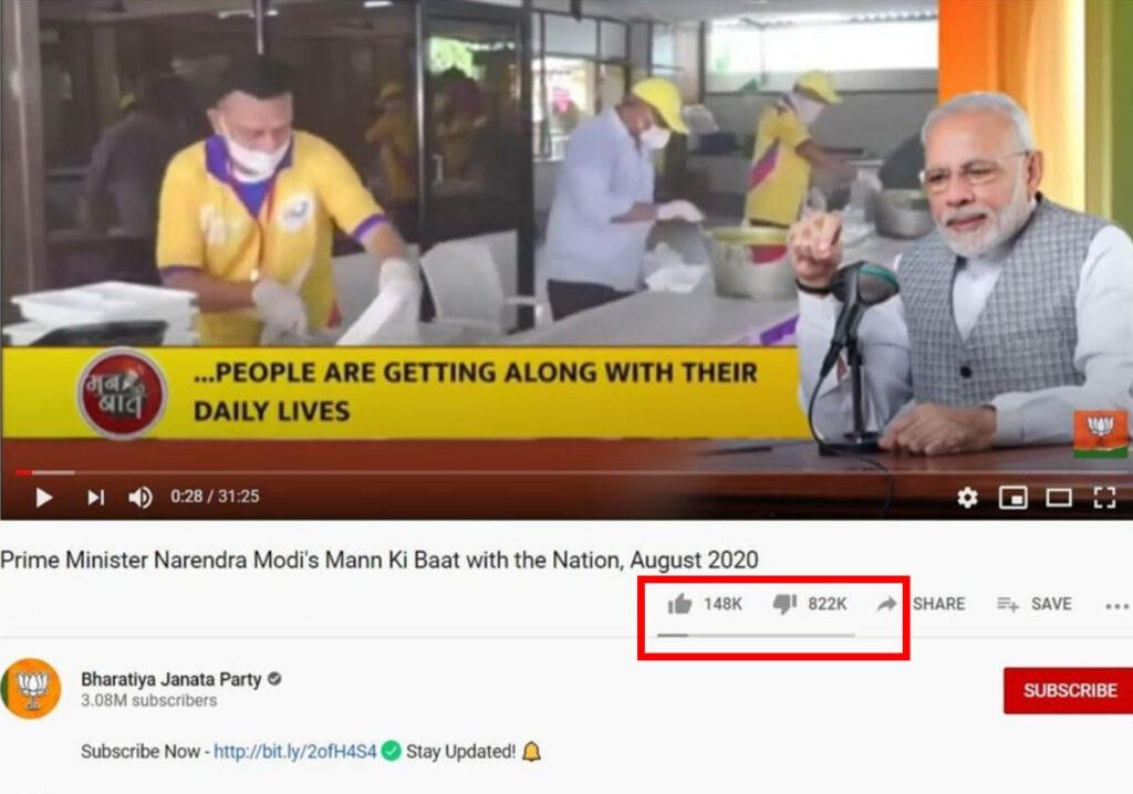 PM's 'Mann ki baat' evoked most dislikes