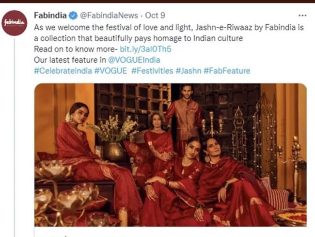 After Facing Heat, Fabindia Removes Tweet On Diwali Collection